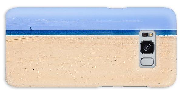 Horizontal Lines Of Sandy Beach Blue Sea And Sky Galaxy Case