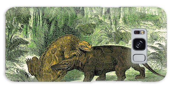 Iguanodon Biting Megalosaurus Galaxy Case by Wellcome Images