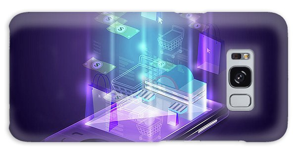 Online Shopping Cart Galaxy Case - Illustration Of Smart Phone Depicting Online Shopping by Fanatic Studio / Science Photo Library