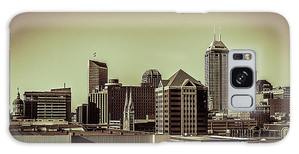 Indianapolis Skyline - Black And White Galaxy Case