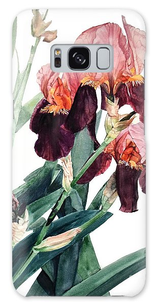 Watercolor Of A Pink And Maroon Tall Bearded Iris I Call Iris La Forza Del Destino Galaxy Case