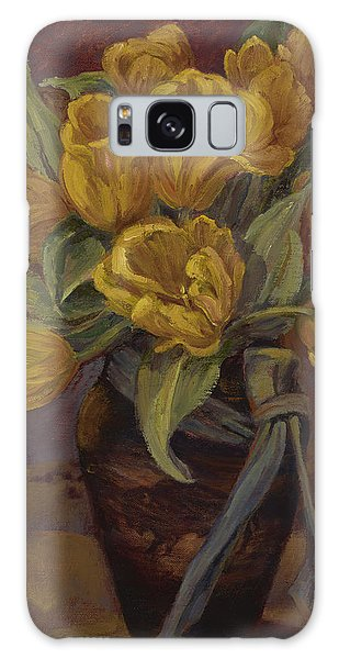 Yellow Tulips- And Buffalo Dreams Galaxy Case by Jane Thorpe