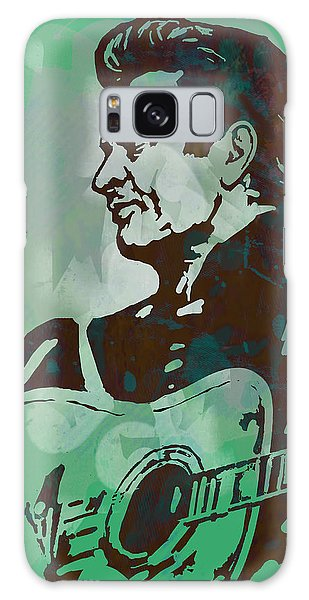Johnny Cash - Stylised Etching Pop Art Poster Galaxy Case by Kim Wang