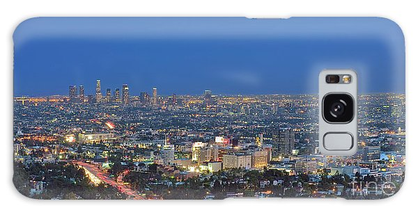 L.a. Skyline Los Angeles Ca Cityscape Night Dusk Lit Lights On 3 Galaxy Case