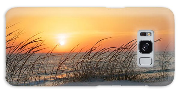 Lake Michigan Sunset Panorama Galaxy Case by Mary Lee Dereske