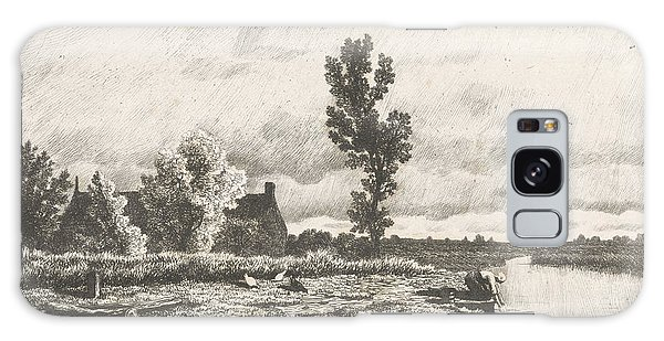Pasture Galaxy Case - Landscape With A Woman Who Does The Laundry by Alexander Mollinger