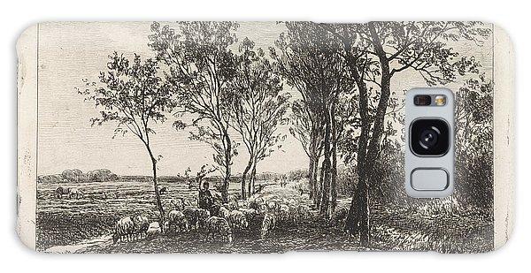 Pasture Galaxy Case - Landscape With Shepherd And Flock Of Sheep by Julius Jacobus Van De Sande Bakhuyzen