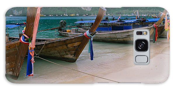 Phi Phi Island Galaxy Case - Longtail Boats Moored On The Beach by Panoramic Images