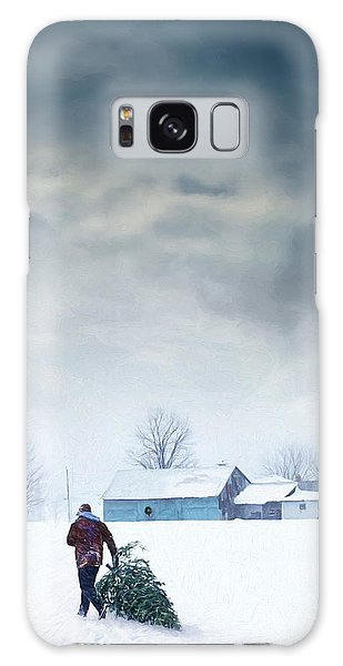 Galaxy Case featuring the photograph Man Carrying Tree For Christmas/digital Painting by Sandra Cunningham