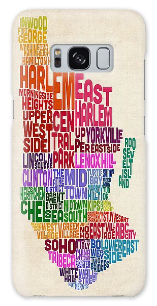Text Map Galaxy Case - Manhattan New York Typography Text Map by Michael Tompsett
