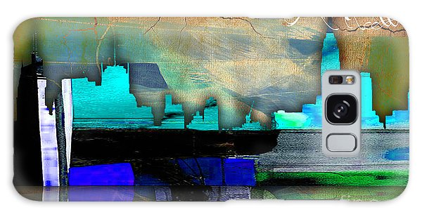 Manhattan Skyline Watercolor Galaxy Case by Marvin Blaine