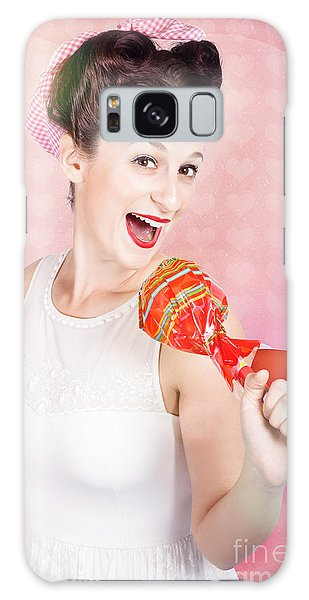 Vivacious Galaxy Case - Mc Female Pin Up Singing With Lollipop Microphone by Jorgo Photography - Wall Art Gallery