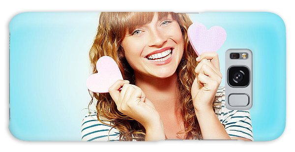 Vivacious Galaxy Case - Mischievous Valentine Girl Holding Two Love Hearts by Jorgo Photography - Wall Art Gallery