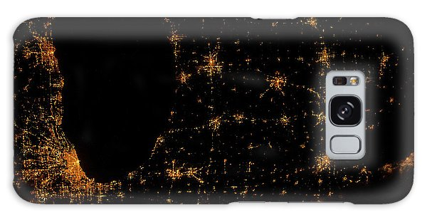 Usa Map Galaxy Case - Night Time Satellite Image Of Chicago by Panoramic Images