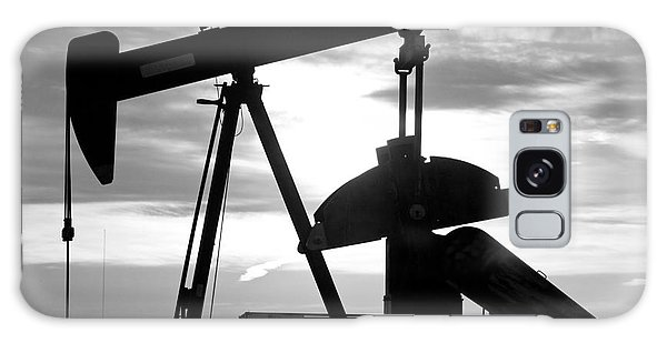Oil Well Pump Jack Black And White Galaxy Case