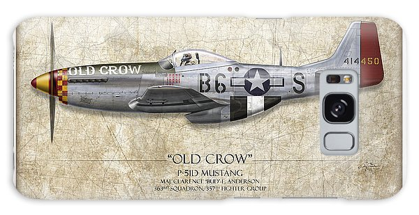 Ww2 Galaxy Case - Old Crow P-51 Mustang - Map Background by Craig Tinder