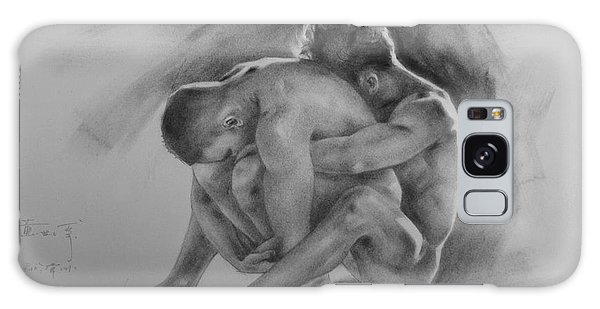 Original Drawing Sketch Charcoal Chalk  Gay Man Portrait Of Cowboy Art Pencil On Paper By Hongtao  Galaxy Case