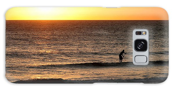 Paddle Board Surfer At Sunset Galaxy Case