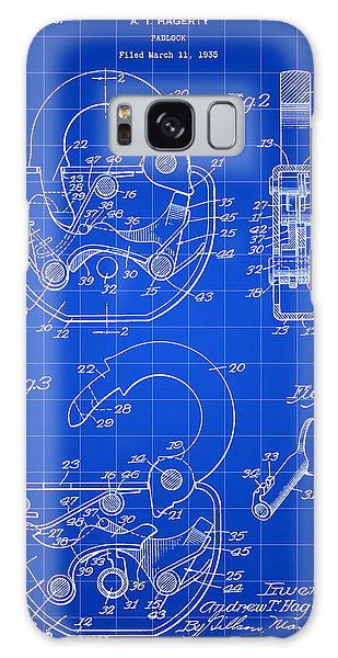 Padlock Patent 1935 - Blue Galaxy Case by Stephen Younts