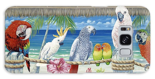 Hibiscus Galaxy Case - Parrots In Paradise by Danielle  Perry