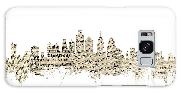 Philadelphia Pennsylvania Skyline Sheet Music Cityscape Galaxy Case by Michael Tompsett