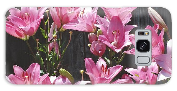 Pink Asiatic Lilies Galaxy Case by Rod Ismay