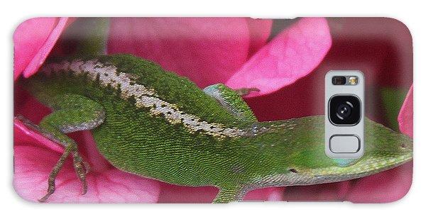 Pink Hydrangea And Lizard 2 Galaxy Case