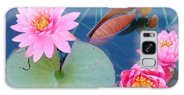 Pink Water Lilies Galaxy Case by Charlotte Gray