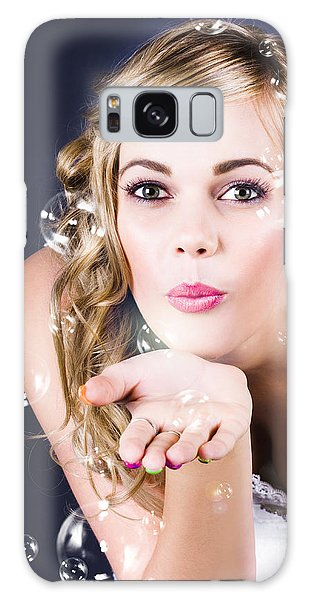 Vivacious Galaxy Case - Playful Bride Blowing Bubbles At Wedding Reception by Jorgo Photography - Wall Art Gallery
