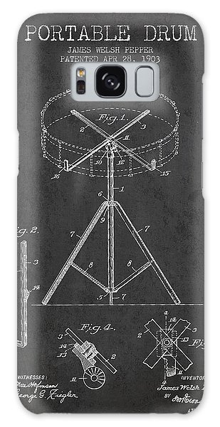 Drum Galaxy S8 Case - Portable Drum Patent Drawing From 1903 - Dark by Aged Pixel