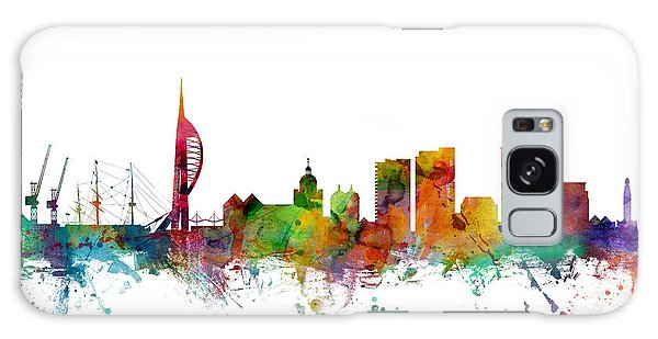 England Galaxy Case - Portsmouth England Skyline by Michael Tompsett