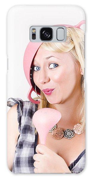 Vivacious Galaxy Case - Quirky Housework Girl Singing Kitchen Karaoke by Jorgo Photography - Wall Art Gallery