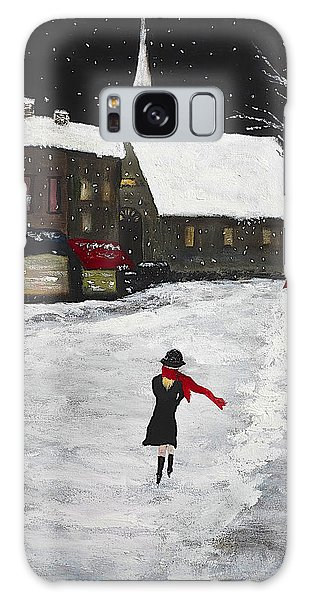 Red Scarf Winter Scene Galaxy Case