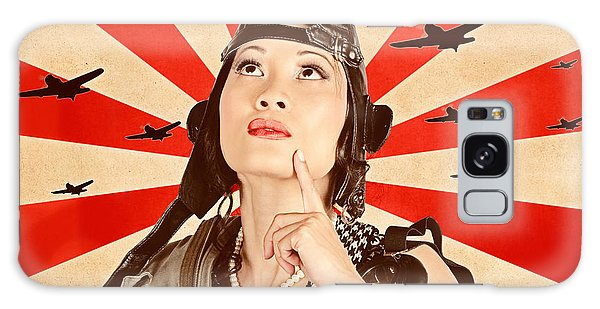Tactical Galaxy Case - Retro Asian Pinup Girl. War Planes Of Revolution by Jorgo Photography - Wall Art Gallery