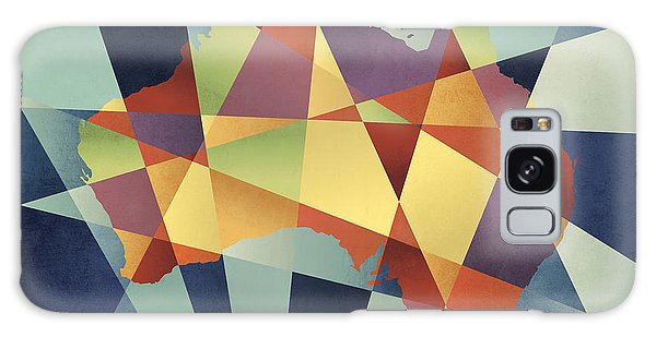 Contemporary Galaxy Case - Australia Geometric Retro Map by Michael Tompsett