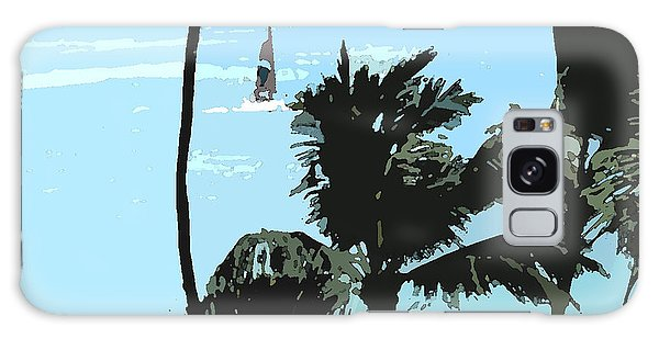 Sailboat And Luscious Palms Galaxy Case by Karen Nicholson