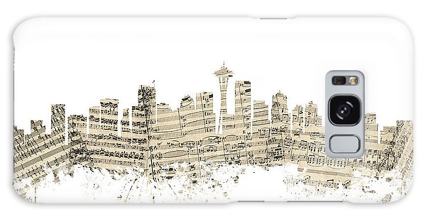 Seattle Washington Skyline Sheet Music Cityscape Galaxy Case by Michael Tompsett
