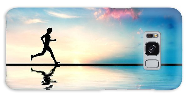 Silhouette Of Man Running At Sunset Galaxy Case