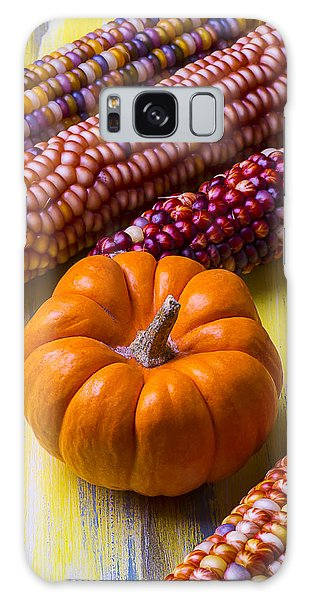 Indian Corn Galaxy Case - Small Pumpkin And Indian Corn by Garry Gay