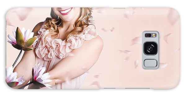 Vivacious Galaxy Case - Smiling Flower Girl Dancing In Spring Petal Rain by Jorgo Photography - Wall Art Gallery