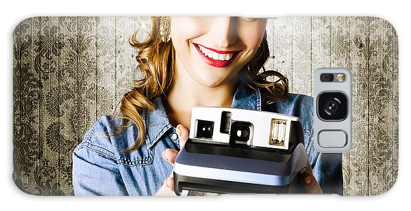 Amateur Galaxy Case - Smiling Young Vintage Girl Taking Polaroid Photo by Jorgo Photography - Wall Art Gallery