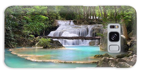 Stream With Waterfall In Tropical Forest Galaxy Case