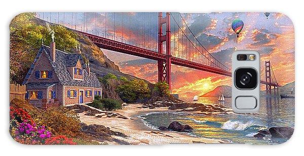 Hot Air Balloons Galaxy Case - Sunset At Golden Gate by Dominic Davison