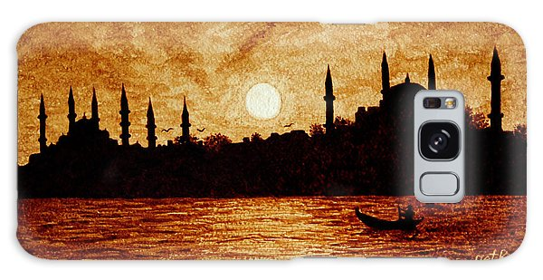 Sunset Over Istanbul Original Coffee Painting Galaxy Case