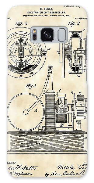 Tesla Electric Circuit Controller Patent 1897 - Vintage Galaxy Case by Stephen Younts