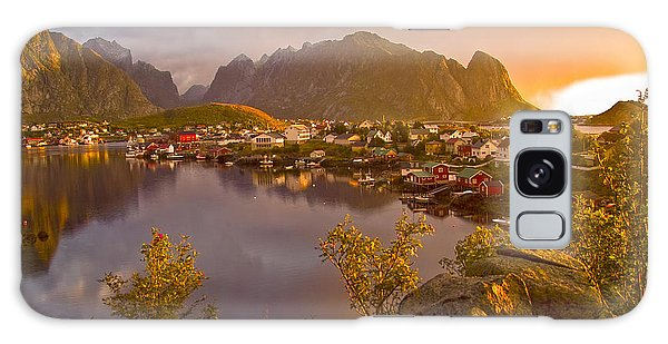Galaxy Case featuring the photograph The Day Begins In Reine by Heiko Koehrer-Wagner