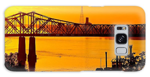 The Mississippi River Bridge At Natchez At Sunset.  Galaxy Case