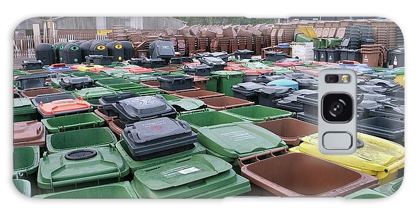 Rubbish Bin Galaxy Case - Used And Damaged Wheelie Bins In Compound by Robert Brook/science Photo Library
