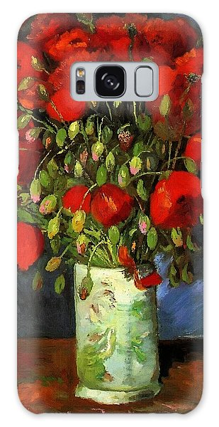 Vase With Red Poppies Galaxy Case