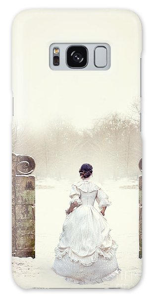 Victorian Woman In Snow Galaxy Case by Lee Avison